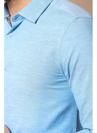 Wessi Erkek Keten Pamuk Slim Fit Gömlek Mavi